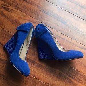 Betsy Johnson blue suede w/blue rhinestones wedges